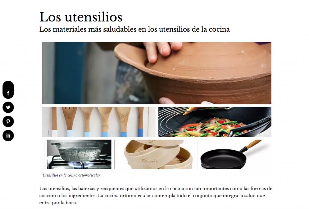 Los utensilios- La Cocina Ortomolecular